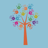 Print the tree and prints of children`s hands. Print the tree and a prints of children`s hands Royalty Free Stock Photos