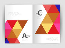 Print triangle modern print template. Modern business brochure or leaflet A4 cover template. Abstract background with color triangles, annual report print Royalty Free Stock Images