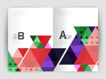 Print triangle modern print template. Modern business brochure or leaflet A4 cover template. Abstract background with color triangles, annual report print Royalty Free Stock Photography