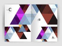Print triangle modern print template. Modern business brochure or leaflet A4 cover template. Abstract background with color triangles, annual report print Royalty Free Stock Photos
