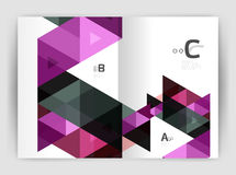 Print triangle modern print template. Modern business brochure or leaflet A4 cover template. Abstract background with color triangles, annual report print Stock Images