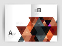 Print triangle modern print template. Modern business brochure or leaflet A4 cover template. Abstract background with color triangles, annual report print Royalty Free Stock Photo