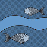 Print with two cartoon fishes and blank banner. On blue color background Stock Image