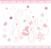 Print two funny hares and hart vector illustrations for children. Print two funny hares and hart and flowers and butterfly vector illustrations for children Stock Image