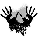 Print of two grunge hands Stock Image
