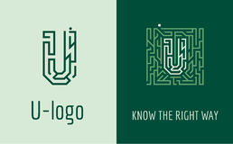 Print U letter maze. Creative logo for corporate identity of company: letter U. The logo symbolizes labyrinth, choice of right path, solutions. Suitable for Royalty Free Stock Photos
