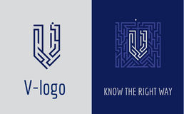 Print V letter maze. Creative logo for corporate identity of company: letter V. The logo symbolizes labyrinth, choice of right path, solutions. Suitable for Royalty Free Stock Photography