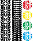 Print various automobile tires. Colored print various automobile tires Royalty Free Stock Images