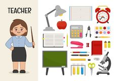 Vector character teacher. vector illustration