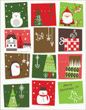 Print vector - Christmas card with nice cartoons. Vector drawings with nice cartoons elements Royalty Free Stock Photography