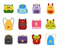 Vector collection of multicolored school backpacks. vector illustration