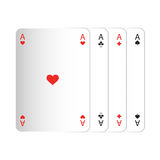 Print vector illustration Playing cards four aces isolate Royalty Free Stock Photo