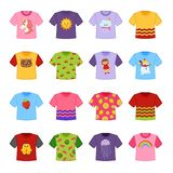 Vector set of cartoon t-shirts vector illustration