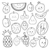 Vector set of cute fruits. stock illustration