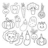 Vector set of cute vegetables. royalty free illustration