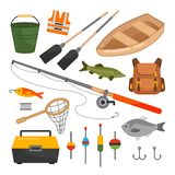 Vector set of equipment for fishing. Cartoon illustration of a boat, fishing rods, floats and other devices for fishing vector illustration