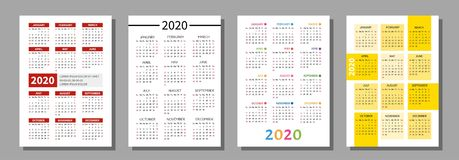 Pocket calendar 2020. Vector set of pocket calendar. Calendar grid for 2020 vector illustration