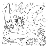 Vector set of underwater animals royalty free illustration