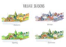 Village in four seasons illustration, sketchy design stock illustration