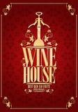 Vintage menu wine house red background gold frame. Vector illustration royalty free illustration