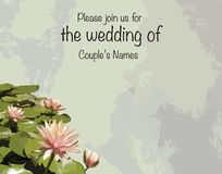 Print Wedding invitation cards with lotus / water lilies Royalty Free Stock Image