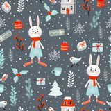 Winter Christmas holiday hand-drawn raster seamless pattern. Clipping path included stock illustration