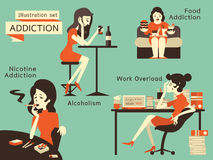 Print. Woman in unhealthy addiction lifestyle, alcoholism, nicotine addiction, food addiction and working overload. Vector illustration in vintage style Royalty Free Stock Image