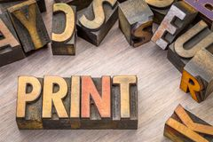 Print word abstract in wood type. Print word abstract in vintage letterpress wood type printing blocks Royalty Free Stock Images