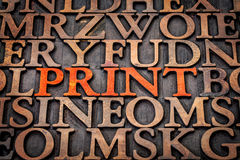 Print word abstract in wood type Royalty Free Stock Image