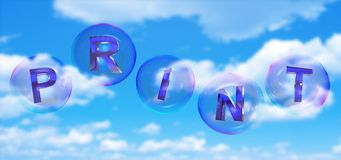 The print word in bubble. The print word in soap bubble on blue sky background,3d rendered Stock Photography