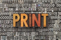 Print word in letterpress type Stock Photo