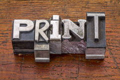 Print word in metal type Stock Photos