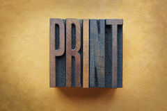Print. The word PRINT written in vintage letterpress type Royalty Free Stock Image