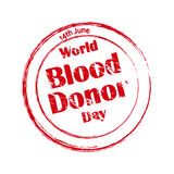 Print. World Blood Donor Day. 14th June. Red wet stamp stock illustration