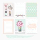 Printable śliczny set napełniacz karty z kwiatami, makeup, biżuteria royalty ilustracja