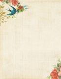 Printable птица и розы неподвижные или предпосылка год сбора винограда Стоковые Изображения RF