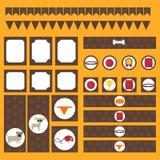 Printable племенной комплект винтажных элементов партии собаки Шаблоны, ярлыки, значки и обручи Стоковая Фотография