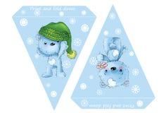 Printable флаги шаблона Детский душ, день рождения, Новый Год или рождественская вечеринка знамени с медведями и снежинками младе Стоковые Фотографии RF