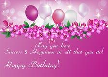 Printable элегантная поздравительная открытка дня рождения для женщины Стоковое Изображение