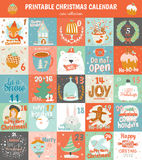 Printable advent calendar in vector. Royalty Free Stock Photography