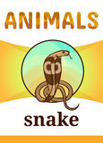 Printable animal flash card. Illustration. Suitable for teaching children new words. King cobra is a dangerous snake, cartoon style Royalty Free Stock Image
