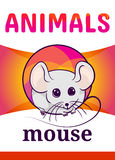 Printable animal flash card. Illustration. Suitable for teaching children new words. White mouse, cartoon style Royalty Free Stock Photography