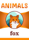 Printable animal flash card. Illustration. Suitable for teaching children new words. Wild Red fox, cartoon style Royalty Free Stock Photo