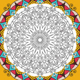 Printable antistress coloring book page for adults - mandala design, activity to older children and relax adult. vector Royalty Free Stock Images