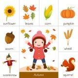 Printable błyskowa karta dla jesieni i mała dziewczynka bawić się z autem royalty ilustracja