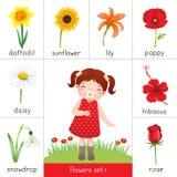 Printable błyskowa karta dla kwiatów i małej dziewczynki wącha kwiatu royalty ilustracja