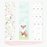 Printable bookmarks with flowers, fox and polka dots. Vector templates for posters, flyers, banner designs, journal cards, scrapbook, planner, diary journaling Royalty Free Stock Photography