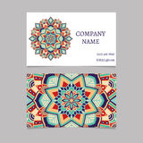 Printable business card with hand drawn mandala ornament Royalty Free Stock Images