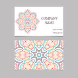 Printable business card with hand drawn mandala ornament Royalty Free Stock Image