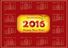 Printable Calendar 2016 -Chinese New Year of the Monkey. Calendar for the year 2016 (Sunday first, English). Real size  file is A3 format Royalty Free Stock Photos